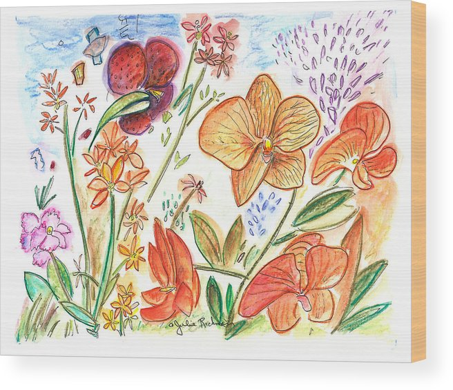 Flowers Wood Print featuring the painting Orchid No. 9 by Julie Richman