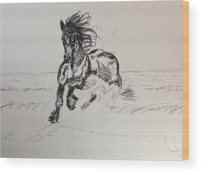 Charcoal Wood Print featuring the drawing Out Of Darkness Comes Strength by Christine Mertin