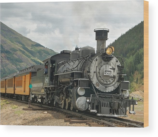 Steam Train Photographs Wood Print featuring the photograph Out Of Here by Ken Smith