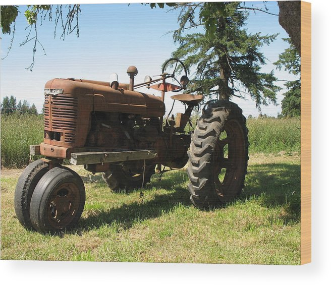 Tractor Wood Print featuring the photograph Out To Pasture by Juli House