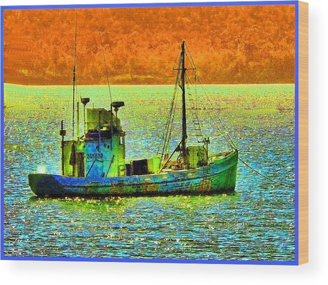 Fishing Boat Wood Print featuring the photograph p1030865001d Fishing Boat by Ed Immar