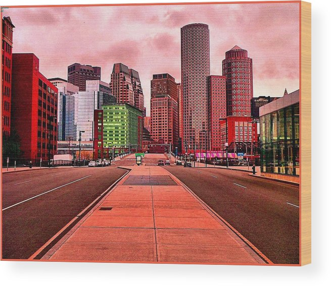 Cityscape Wood Print featuring the painting p1070558 Red City by Ed Immar
