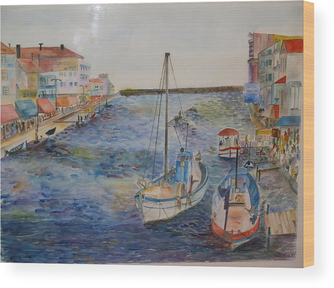 Fishing Boats Wood Print featuring the painting Palavas by Aline Kala