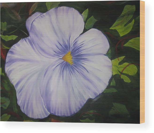 Flower Wood Print featuring the painting Pansy by Michael Schedgick