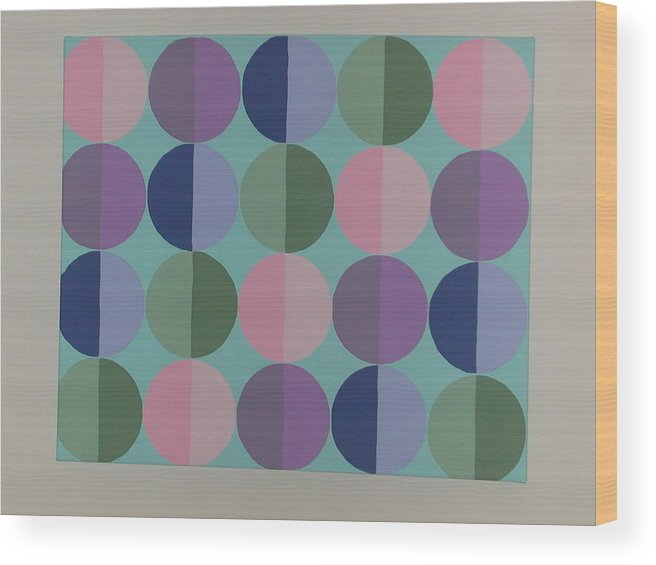 Blue Wood Print featuring the painting Pastel Cirles by Gay Dallek