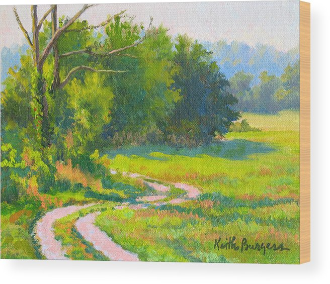 Landscape Wood Print featuring the painting Pasture Road by Keith Burgess