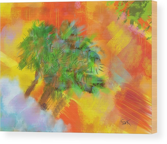 Abstract Wood Print featuring the digital art Patchwork Beach Town by Sherry Killam