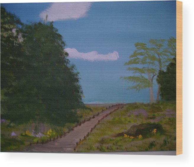 Landscape Wood Print featuring the painting Pathway by Dottie Briggs