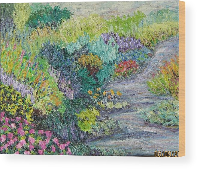 Flowers Wood Print featuring the painting Pathway Of Flowers by Richard Nowak