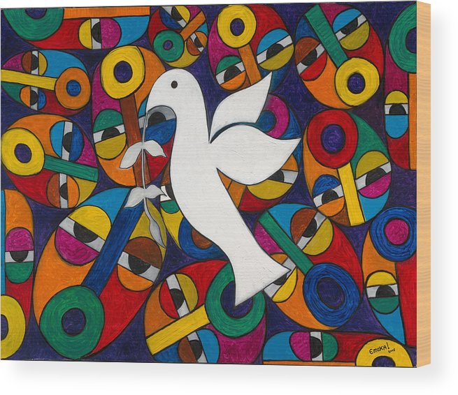 Dove Wood Print featuring the painting Peace On Earth by Emeka Okoro