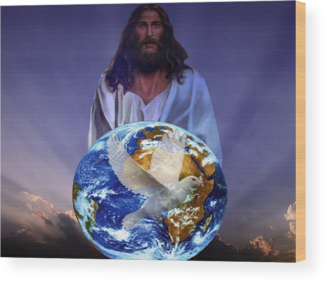 Religious Art Wood Print featuring the digital art Peace On Earth by Evelyn Patrick