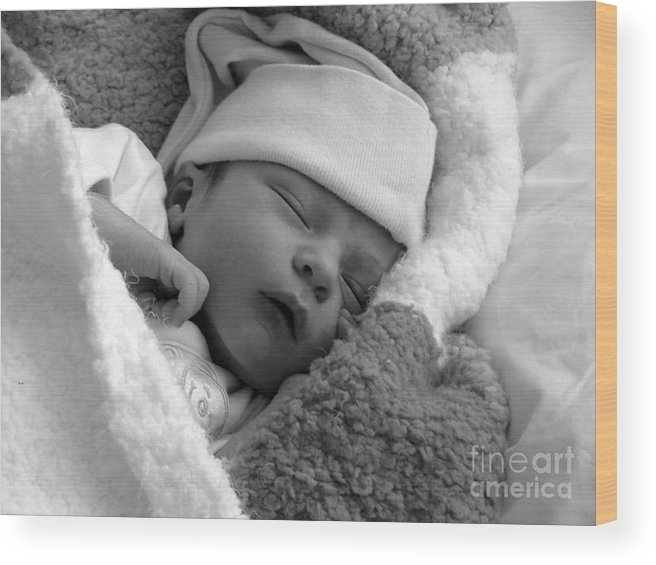 Sleep Wood Print featuring the photograph Peaceful by Karen Lewis