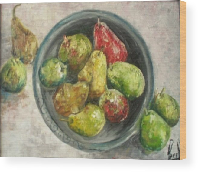 Wood Print featuring the painting Pears In Bowl by Carol P Kingsley