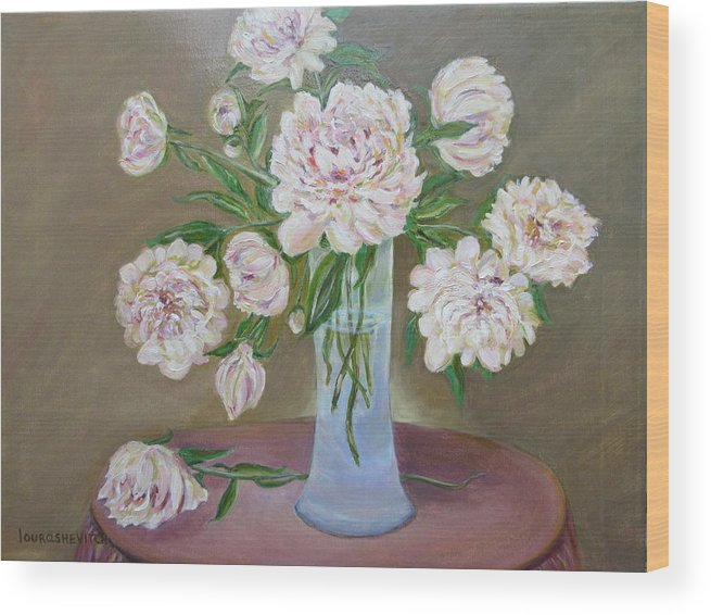 Peonies Wood Print featuring the painting Peonies Bouquet In An Elegant Bowl On A Round Table by Katia Iourashevich Ricci