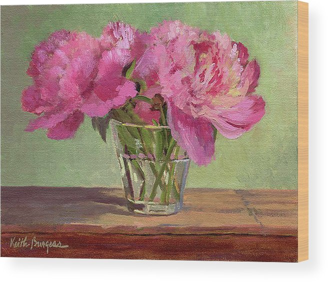 Still Wood Print featuring the painting Peonies In Tumbler by Keith Burgess