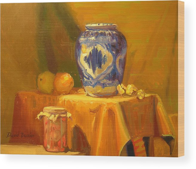Still Life Wood Print featuring the painting Persian Vase And Fruit Jar by David Dozier