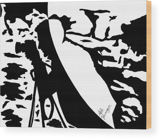 Photographer Wood Print featuring the painting Photographer In Monochrome by Aditi Dewangan