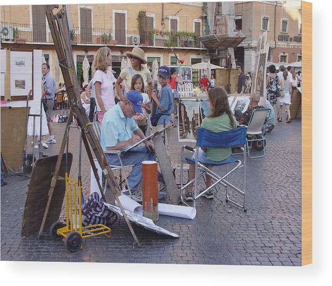 Piazza Navona Wood Print featuring the photograph Piazza Navona by Angel Ortiz