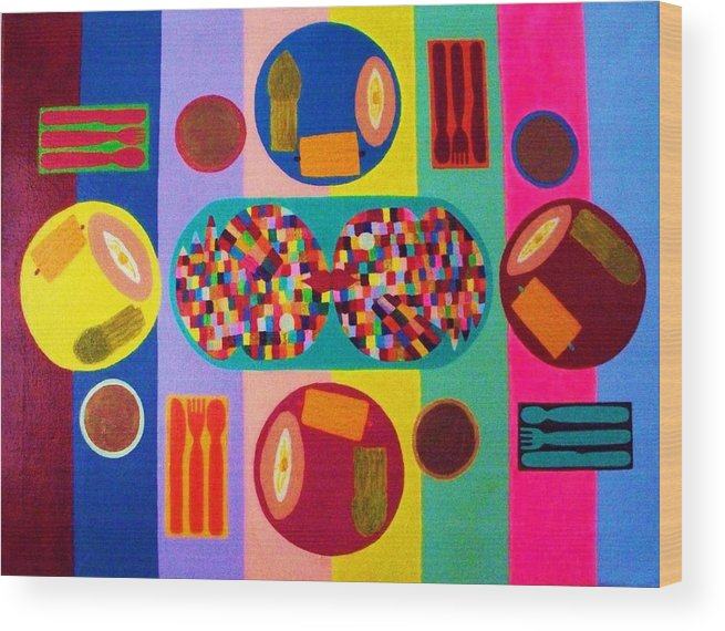 Food Wood Print featuring the painting Picnic Number Two by Ricky Gagnon