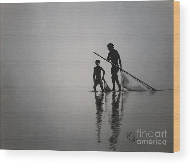 Fisher Man Whit Boy. Wood Print featuring the drawing Pincil Art Drawing by Raju Katari