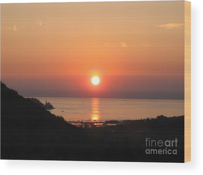 Sunset Sea Wood Print featuring the photograph Piran's Sunset I by Dragica Micki Fortuna