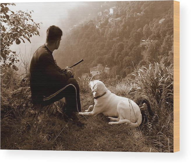 Dog Wood Print featuring the photograph Piton And Bruno by Padamvir Singh
