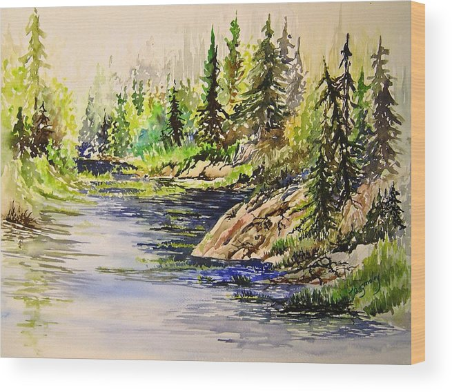 Nutimik Lake Manitoba Landscape Wood Print featuring the painting Plein Air At Nutimik Lake In Manitoba by Joanne Smoley