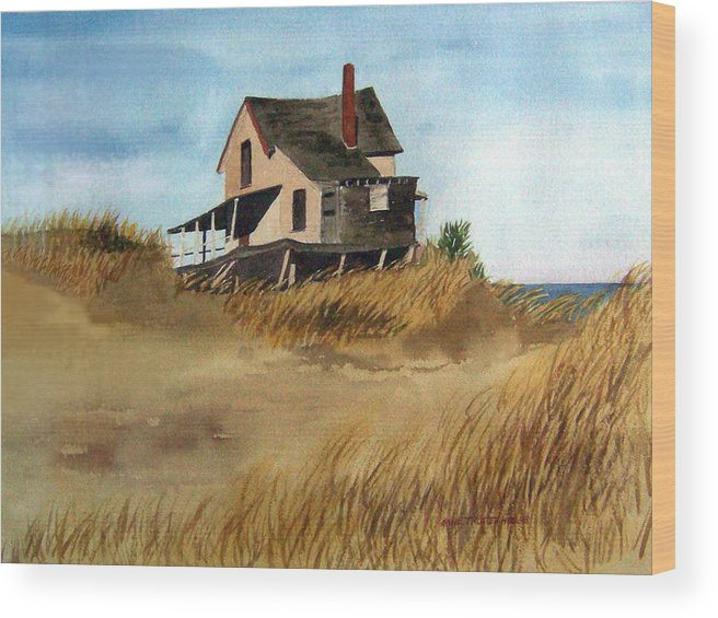 Landscape Wood Print featuring the print Plum Island Shack by Anne Trotter Hodge