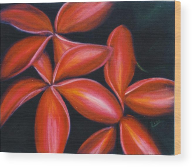 Floral Wood Print featuring the painting Plumeria Rouge by Dina Holland