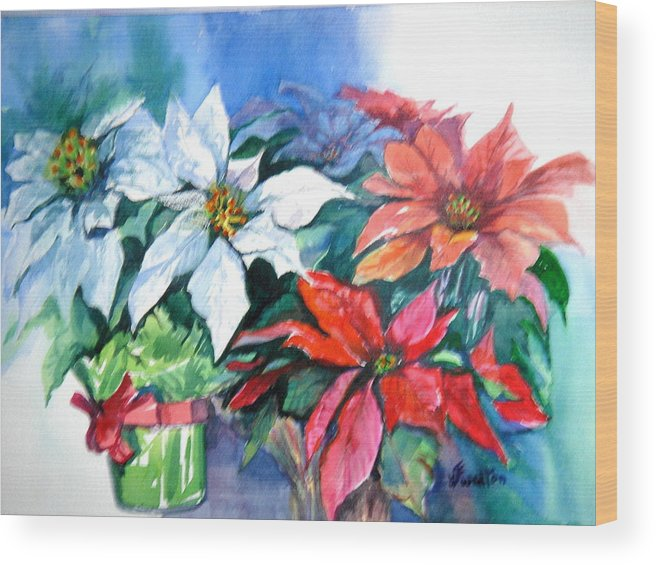 Poinsettias Wood Print featuring the painting Poinsettia Gifts by Judy Fischer Walton