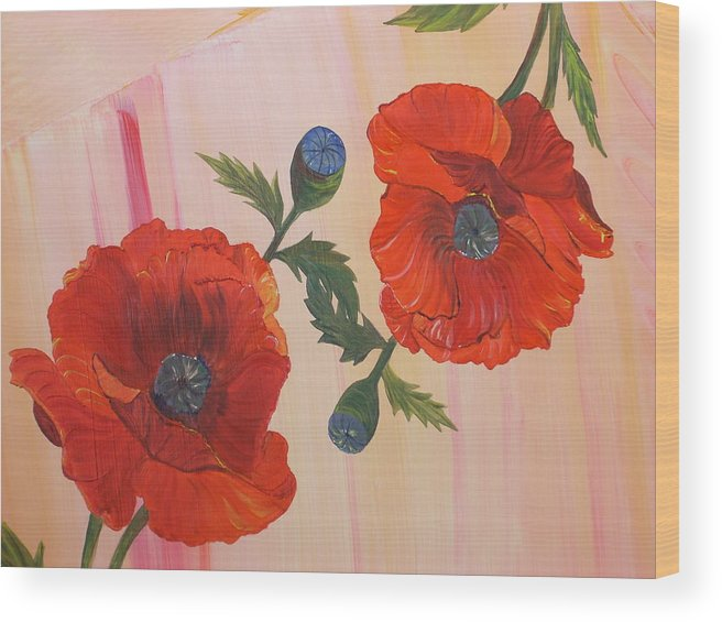 Flowers Wood Print featuring the painting Poppies In Love by Murielle Hebert