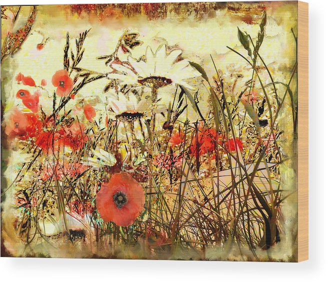 Papaver Wood Print featuring the painting Poppies In Waving Corn by Anne Weirich