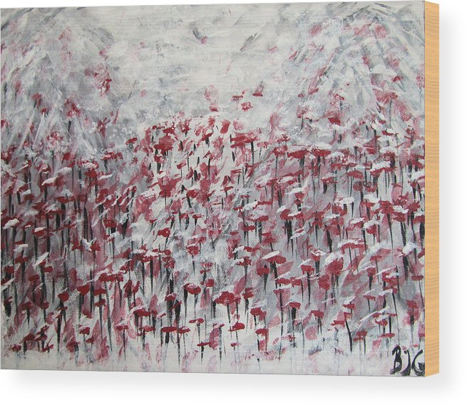 Abstract Wood Print featuring the painting Poppies In Winter by Barbara Giordano