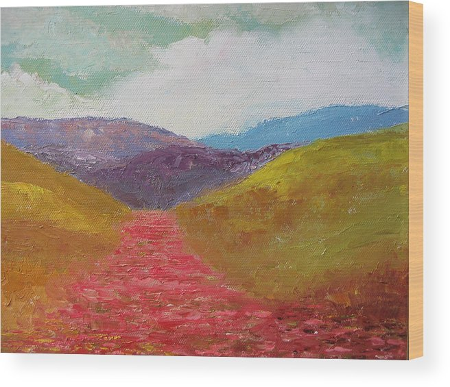 Landscape Wood Print featuring the painting Poppy Field by Belinda Consten