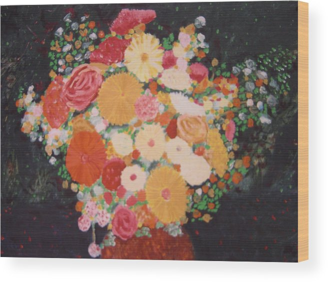 Wood Print featuring the painting Pot With Flowers by Biagio Civale