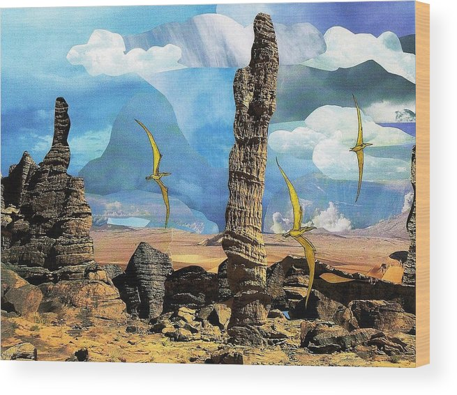 Pterosaurs Wood Print featuring the mixed media Pterosaur Desert by Doug Hiser