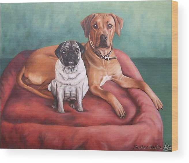 Dogs Wood Print featuring the painting Pug And Rhodesian Ridgeback by Nicole Zeug