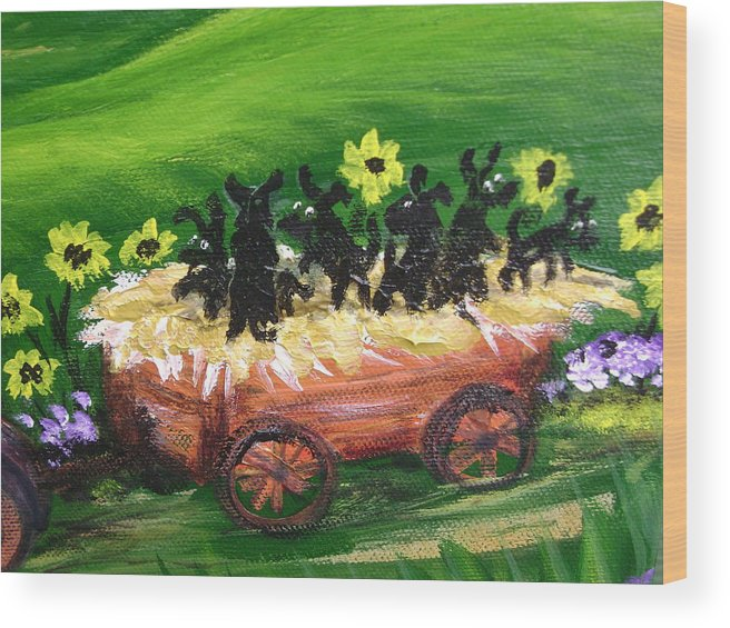 Pups Wood Print featuring the painting Pups First Hayride Upclose by Laura Johnson