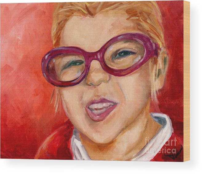 Portrait Wood Print featuring the painting Purple Glasses by Linda Vespasian