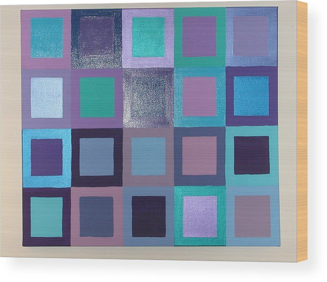 Squares Wood Print featuring the painting Purple Haze by Gay Dallek