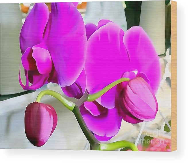 Digital Wood Print featuring the photograph Purple Orchids by Ed Weidman