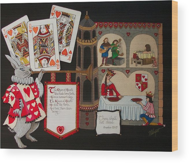 Nursery Rhyme Wood Print featuring the painting Queen Of Hearts by Victoria Heryet