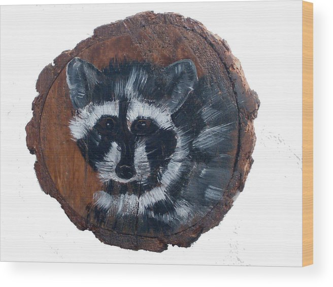 Racoon Wood Print featuring the painting Raccoon by Mikki Alhart