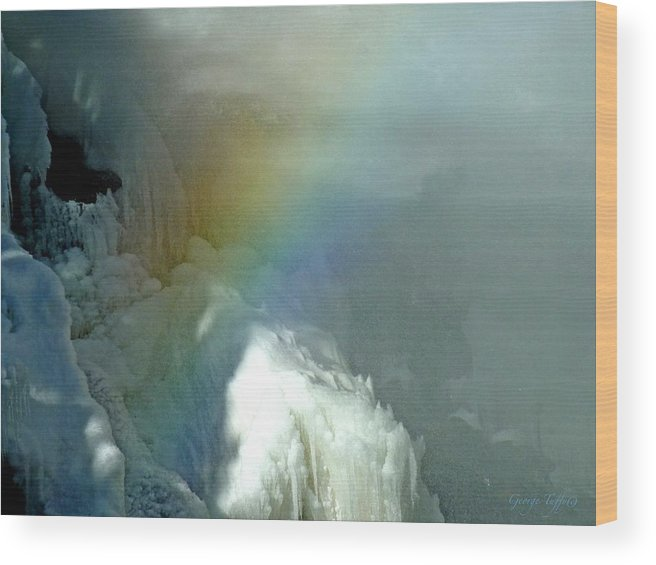 Ice Photography Wood Print featuring the photograph Rainbow Ice Water by George Tuffy