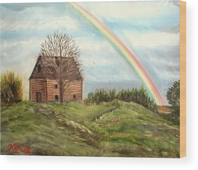 Barn Landscape Rainbow Wood Print featuring the painting Rainbow by Kenneth LePoidevin