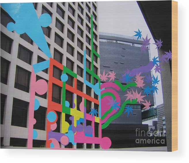 Little Tokyo Wood Print featuring the painting Realeasing My Dream by Takayuki Shimada