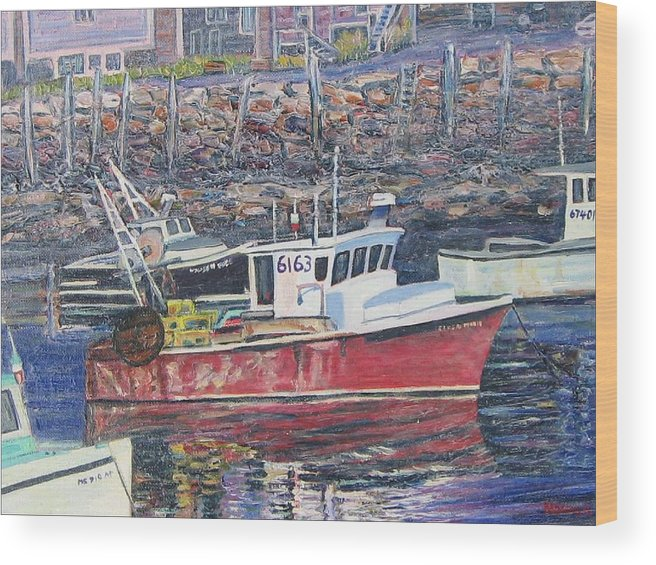 Boat Wood Print featuring the painting Red Boat Reflections by Richard Nowak
