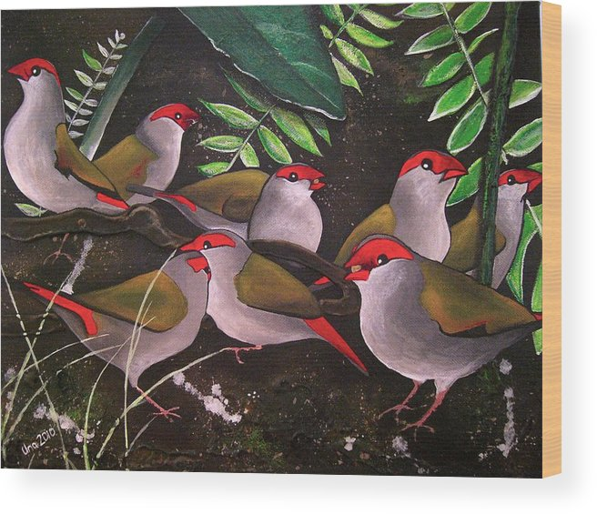 Red Browed Finch Wood Print featuring the painting Red-browed Finch Flock Weipa by Una Miller