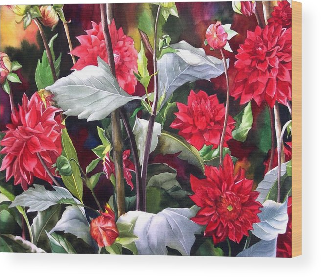 Flower Wood Print featuring the painting Red Dahlias by Alfred Ng