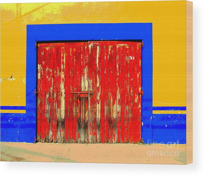 Darian Day Wood Print featuring the photograph Red Door By Darian Day by Mexicolors Art Photography